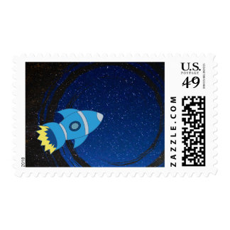 Spaceship In Outerspace Postage Stamp