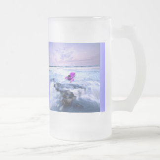 Spaceship in Waves © Frosted Glass Beer Mug