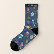 Spaceship Pattern custom name socks