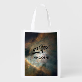 Spaceship Pictogram over Nebula Two-Sided Grocery Bag