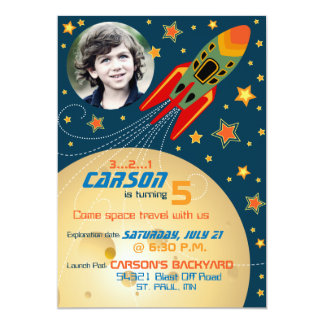 Spaceship Planets & Stars Photo Template Birthday 5x7 Paper Invitation Card