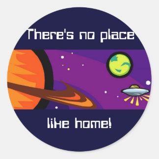 Spaceship to Saturn Classic Round Sticker
