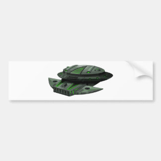 Spaceship with green and black colors bumper sticker