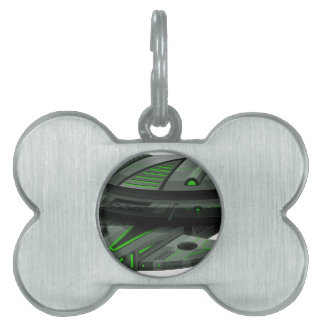 Spaceship with green and black colors pet ID tag