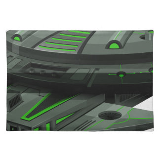 Spaceship with green and black colors placemat