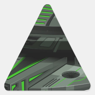 Spaceship with green and black colors triangle sticker