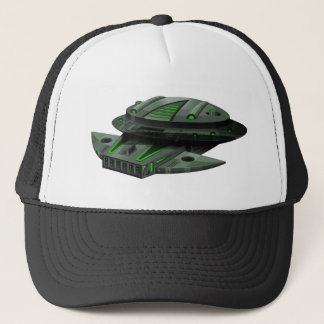 Spaceship with green and black colors trucker hat