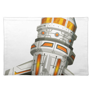 Spaceship with wings on white background cloth placemat