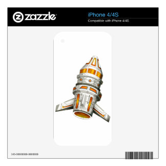 Spaceship with wings on white background skins for iPhone 4