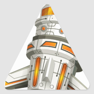 Spaceship with wings on white background triangle sticker