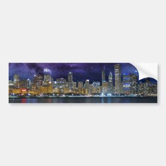 Spacey Chicago Skyline Bumper Sticker