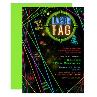 Spacey Cosmic Lights Laser Tag Birthday Party Card
