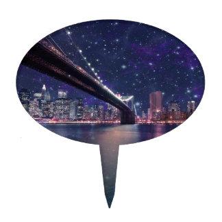 Spacey Manhattan Skyline Cake Topper