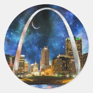 Spacey St. Louis Skyline Classic Round Sticker