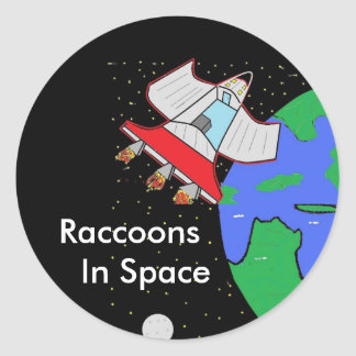spacs c, earth, Raccoons, In Space Classic Round Sticker