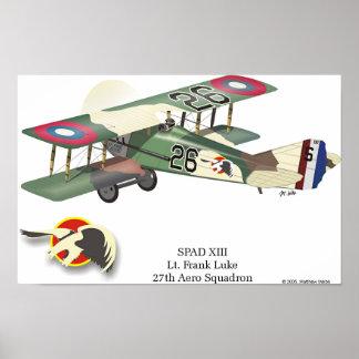 Spad XIII flown by Lt. Frank Luke Poster