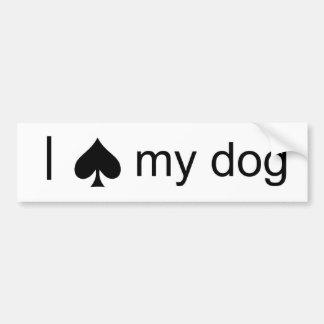 Spade Dog Car Bumper Sticker