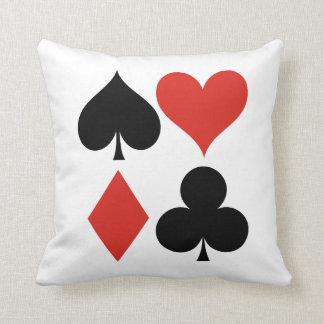 Spade Heart Diamond and Club Throw Pillow