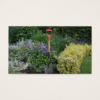 Spade in flower bed business card