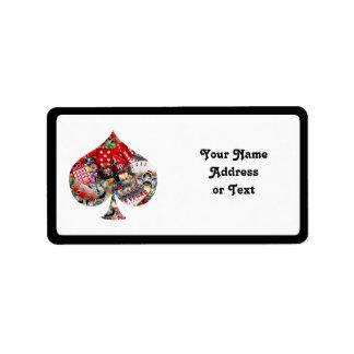 Spade - Las Vegas Playing Card Shape Personalized Address Label