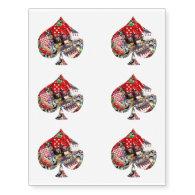 Spade - Las Vegas Playing Card Shape Temporary Tattoos