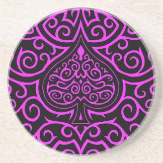 Spade & Scrollwork - Pink Beverage Coaster