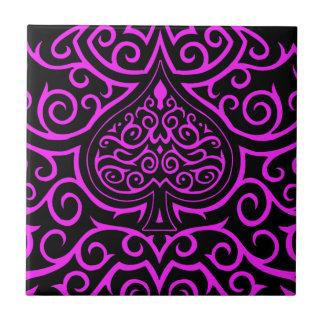 Spade & Scrollwork - Pink Ceramic Tile