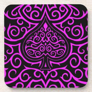 Spade & Scrollwork - Pink Drink Coaster