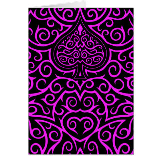 Spade & Scrollwork - Pink Greeting Card