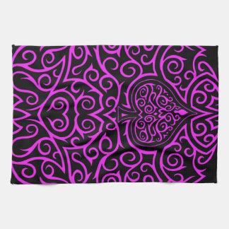 Spade & Scrollwork - Pink Hand Towel