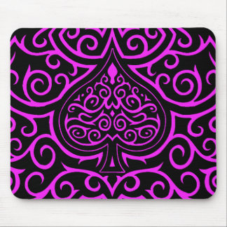 Spade & Scrollwork - Pink Mouse Pad