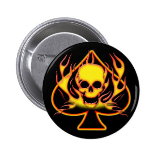 SPADE, SKULL AND FLAMES PINBACK BUTTON