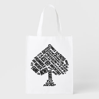 Spade Success Quote Text Art Grocery Bags