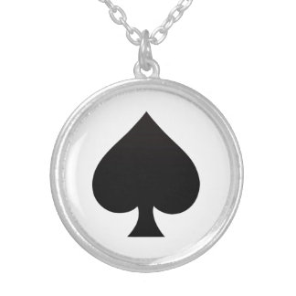 Spade - Suit of Cards Icon Round Pendant Necklace