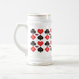 Spades Hearts Diamonds Clubs Pattern Beer Stein 18 Oz Beer Stein