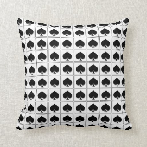 Spades playing card suit pattern pillows