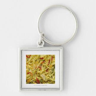 Spaghetti Aglio; Olio and Peperoncino Silver-Colored Square Keychain