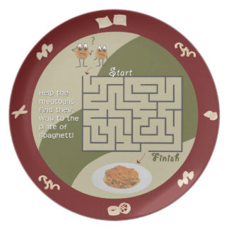 Spaghetti and meatballs maze activity plate