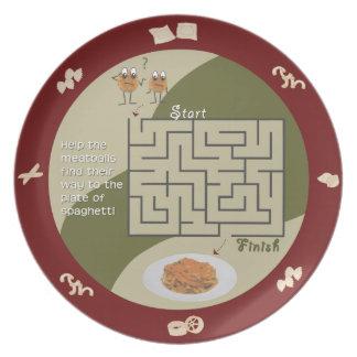 Spaghetti and meatballs maze activity plate