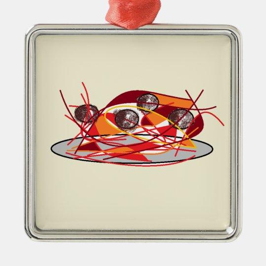Spaghetti and Meatballs Metal Ornament