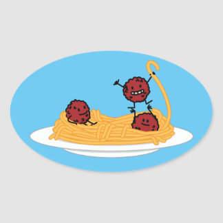 Spaghetti and meatballs pasta noodles Italian food Oval Sticker