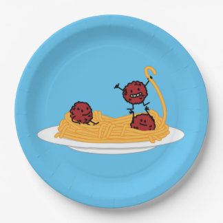 Spaghetti and meatballs pasta noodles Italian food Paper Plate