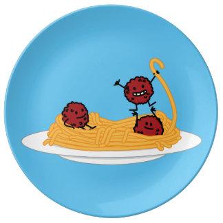 Spaghetti and meatballs pasta noodles Italian food Porcelain Plate