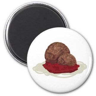 Spaghetti And Meatballs With Sauce 2 Inch Round Magnet