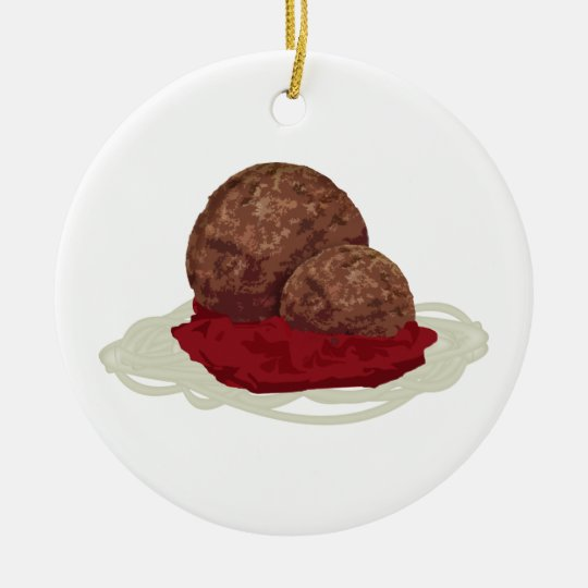 Spaghetti And Meatballs With Sauce Ceramic Ornament
