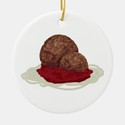 Spaghetti And Meatballs With Sauce Double-Sided Ceramic Round Christmas Ornament