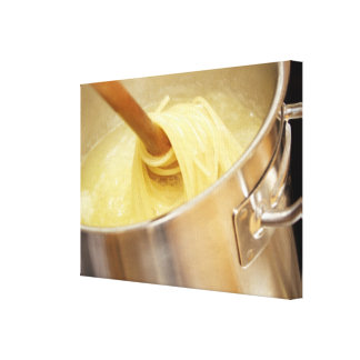 Spaghetti Being Stired in Pot Gallery Wrap Canvas