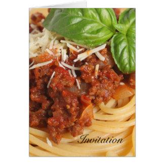 Spaghetti bolognese greeting card