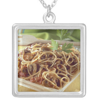 Spaghetti bolognese For use in USA only.) Silver Plated Necklace