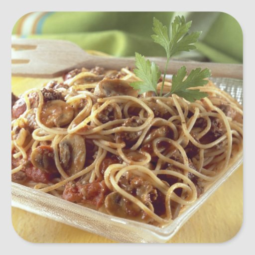 Spaghetti bolognese For use in USA only.) Square Sticker